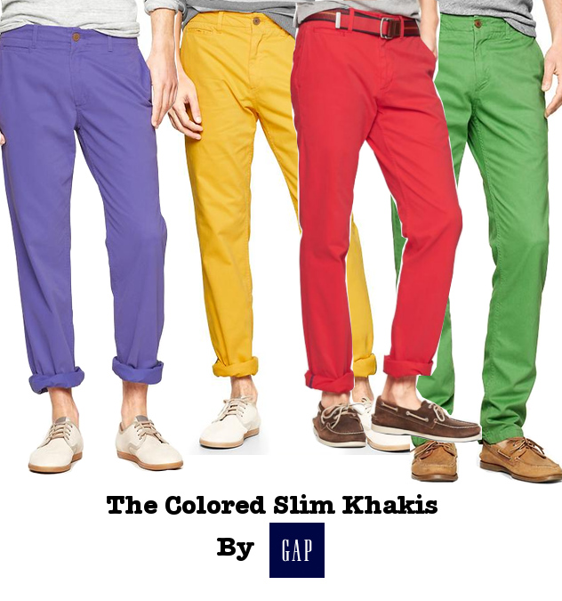 Gap men's colored slim khakis
