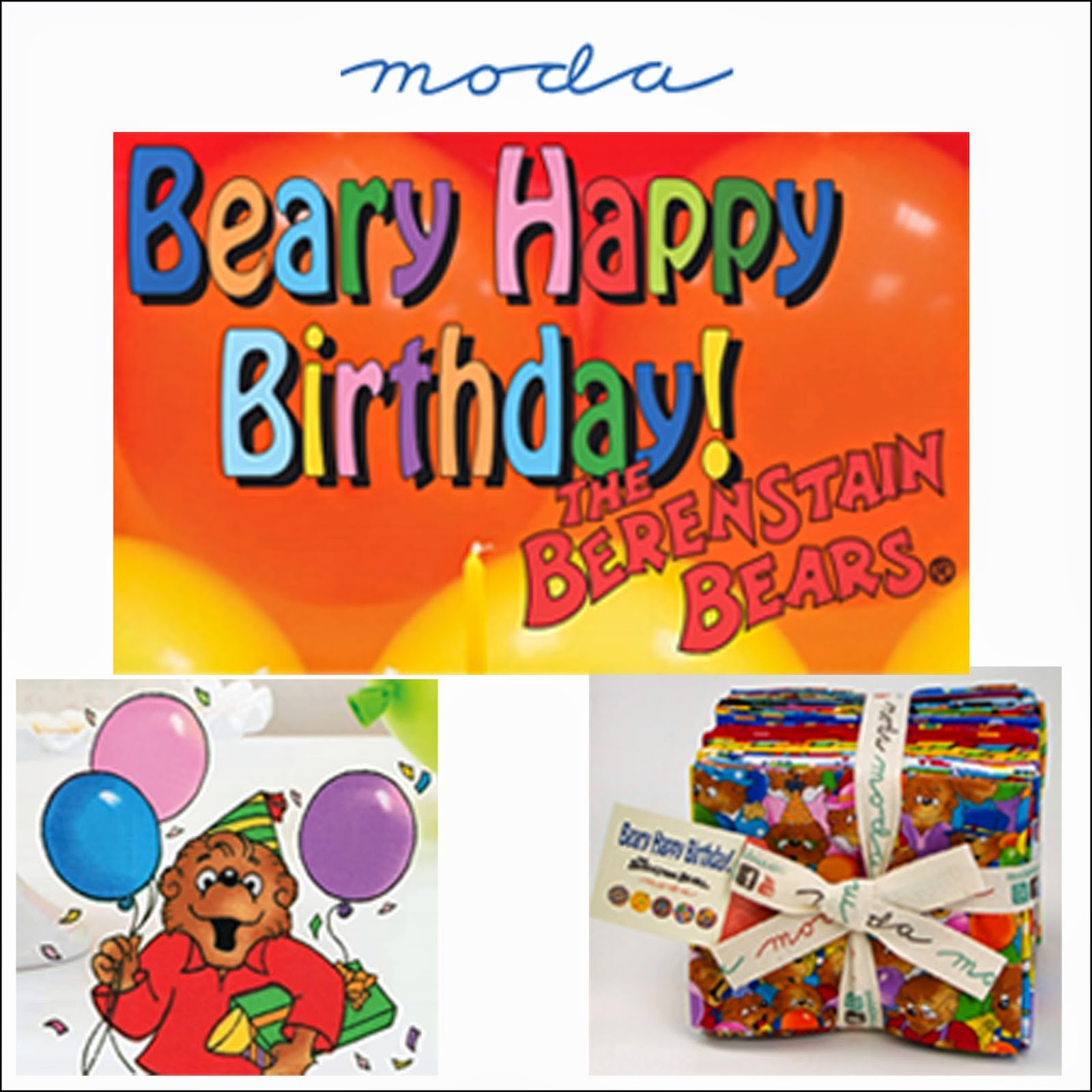 Moda BEARY HAPPY BIRTHDAY Quilt Fabric by The Berenstain Bears