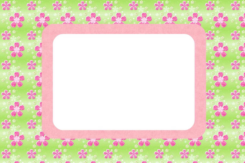 Moldura Convite Tamanho 10X15cm  Tamanho De Foto  Flores Rosa E Verde