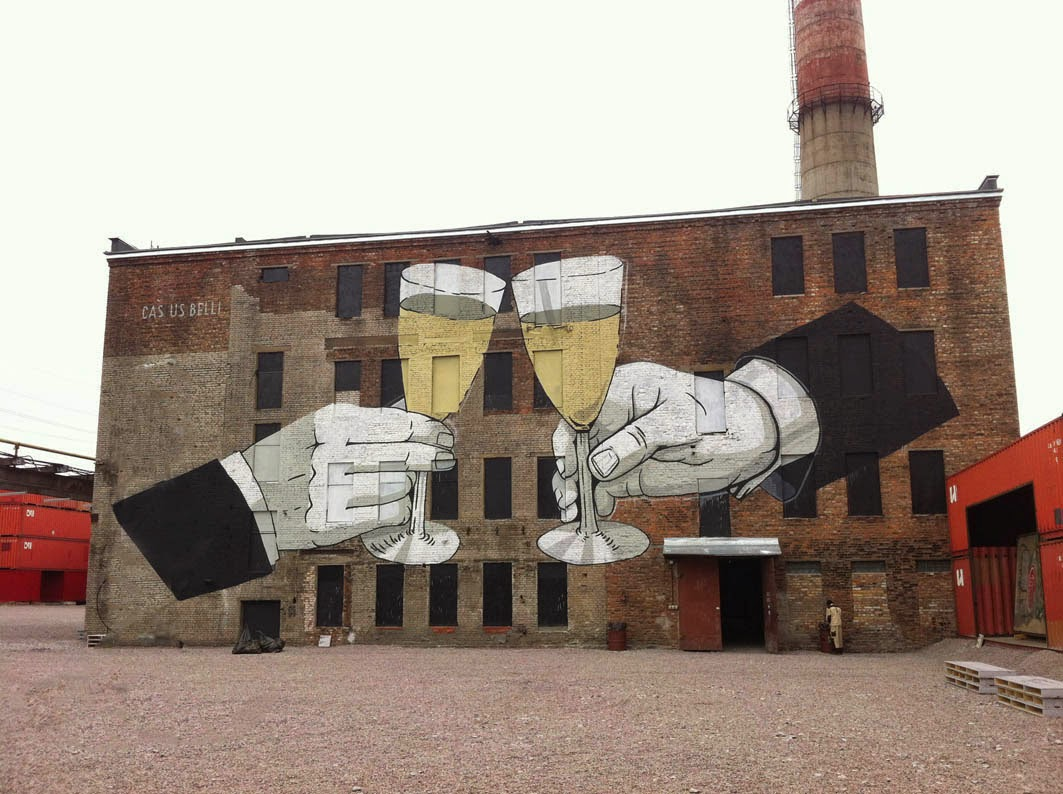 Street Art guerillero Escif is currently in Russia where he was invited to take part in the Casus Pacis project on the streets of the lovely Saint-Petersburg.
