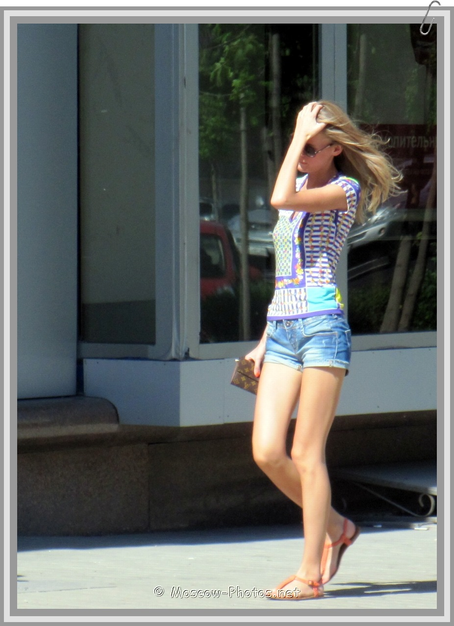 Moscow Girl In Denim Mini Shorts