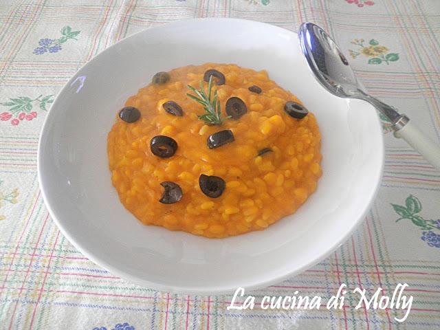 risotto alla crema di zucca e olive nere