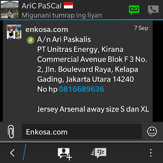 Detail pesanan dan alamat lengkap Ari Paskalis oleh enkosa sport