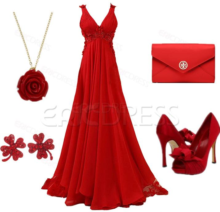 Long red wedding gown with red high heel sandals and hand bag for ladies
