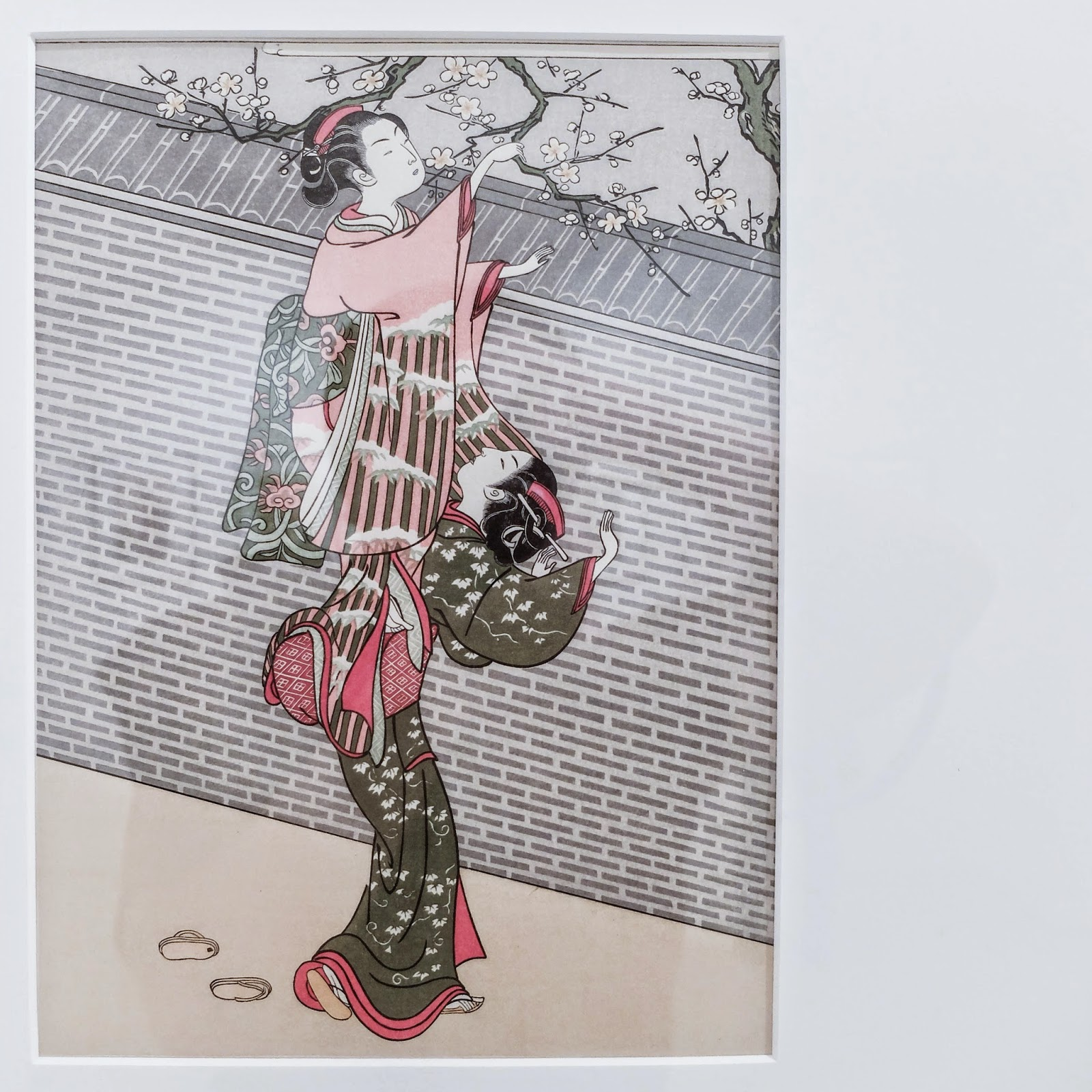 Ukiyoe Portraits exhibit - Picking Plum Blossoms from Neighbor's Garden by Harunobu Suzuki