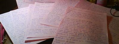 apuntes, notas, folios escritos, caligrafía, manuscrito