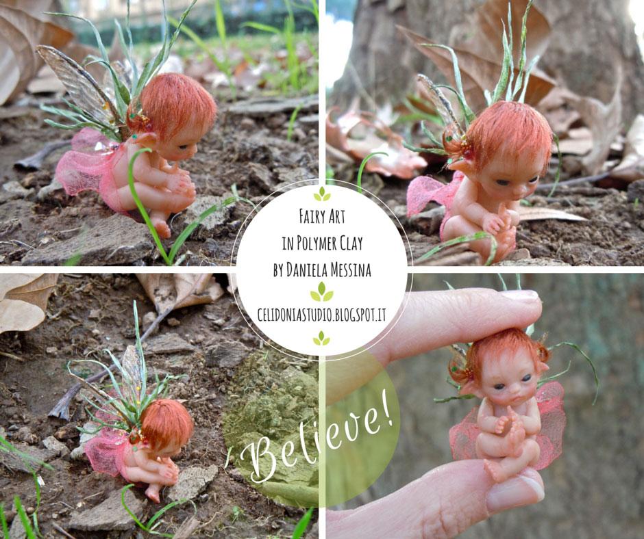 Baby Fairy in the Leaf - ooak fairy by Celidonia - Daniela Messina