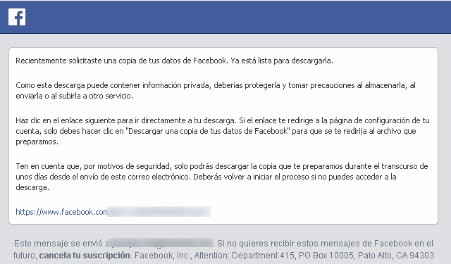 Mensaje de advertencia de la red Facebook