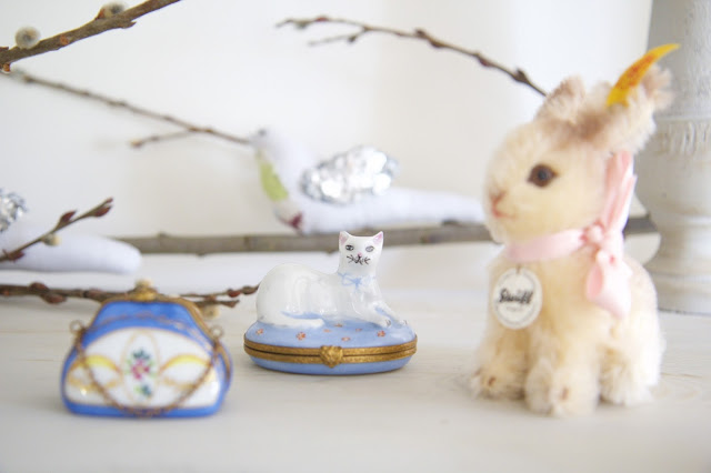Limoges boxes and steiff bunny; Baby nursery; Nursery in the Nest; Nora's Nest