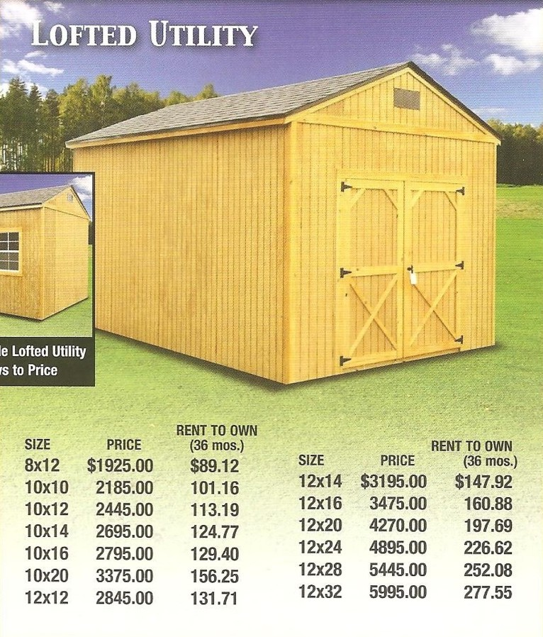 Treated Lofted Utility Purchase Prices and Rent To Own Payments