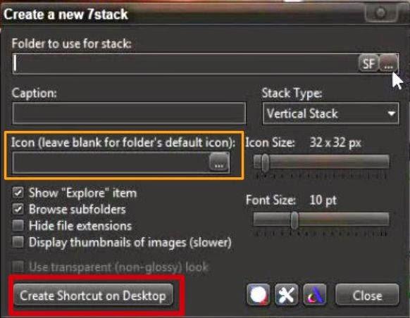 7 Stacks - Definir o ícone antes de criar a pasta