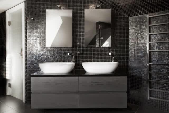 Superb Bathroom Dark Colors Anthracite Slate Mosaic