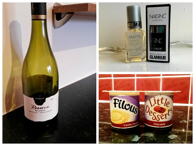 Nail varnish, petit filous and wine bottle