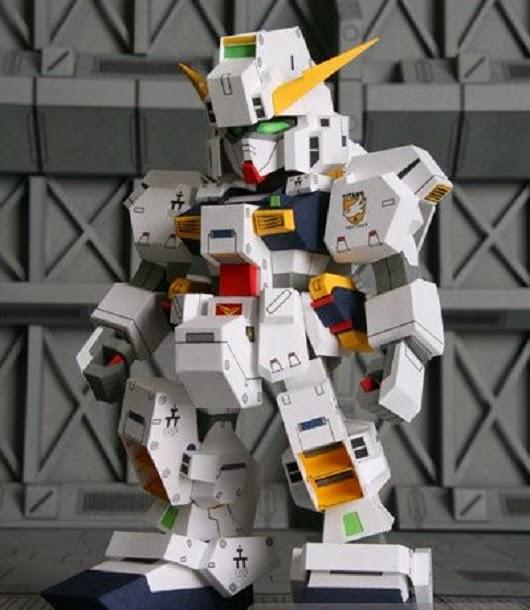SD RX-121 TR-1 Hazel Gundam Papercraft - White Gundam