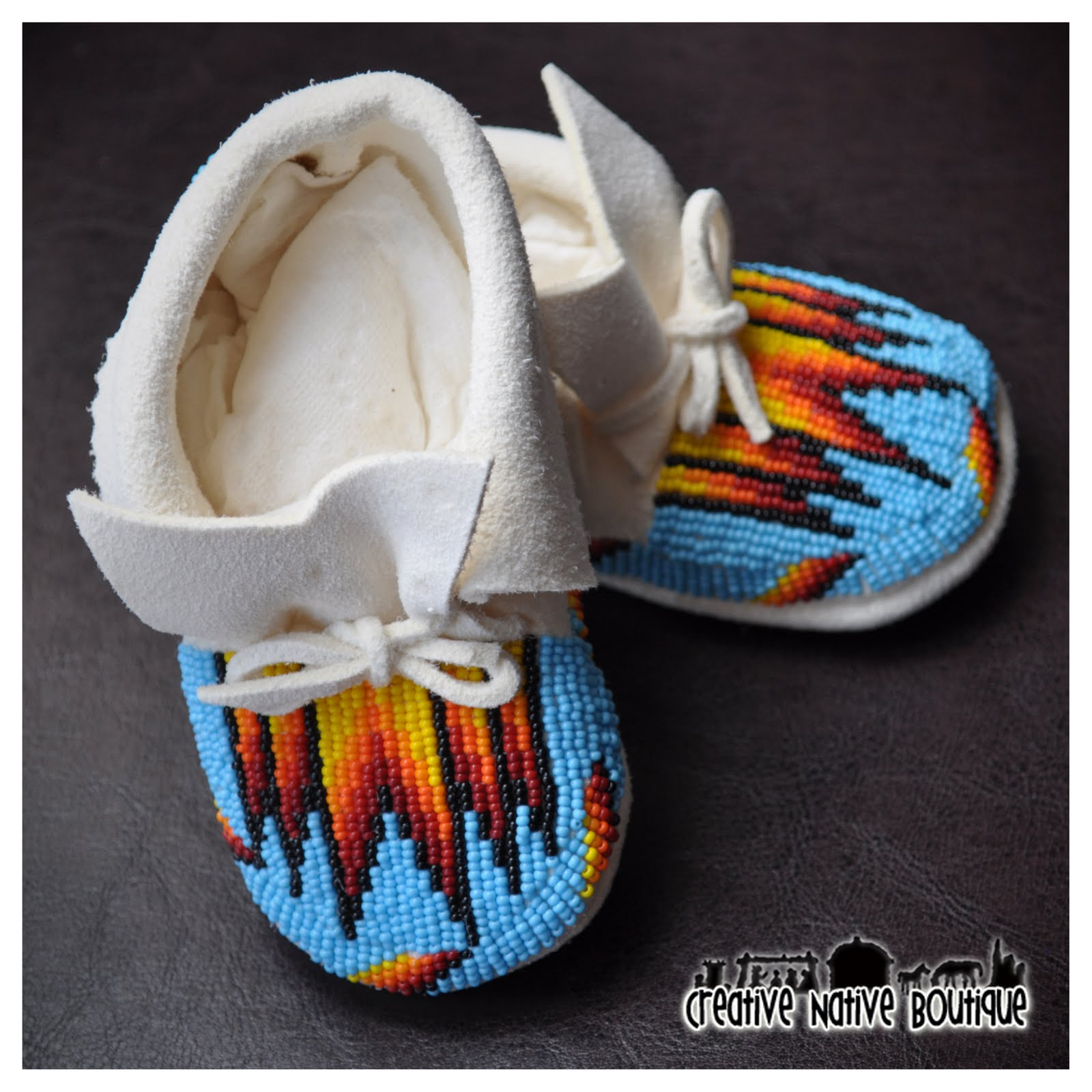 Creative native boutique turquoise blue baby moccasins