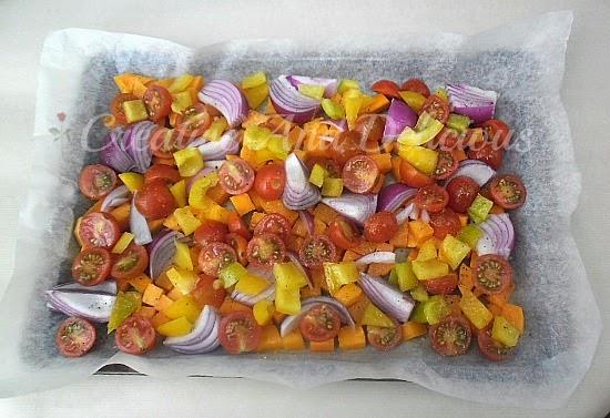 Roasted Vegetable Pasta Salad ~ Delicious salad ~ serve warm or cold ! #Salad #PastaSalad #RoastedVegetables