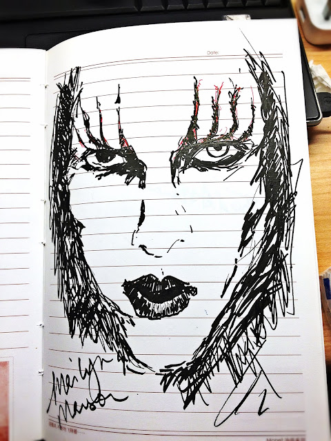 Yi Wei Lim, yiweilim, marilyn manson, mm, guns god and government tour, beautiful people, the beautiful people, sketch, drawing, marilyn manson drawing, antichrist superstar, eat me drink me, rock, marilyn manson and the spooky kids, brian hugh warner
