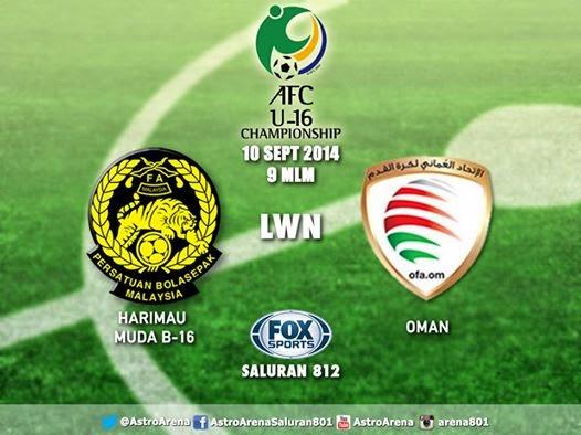 siaran langsung Malaysia vs Oman 10 September 2014