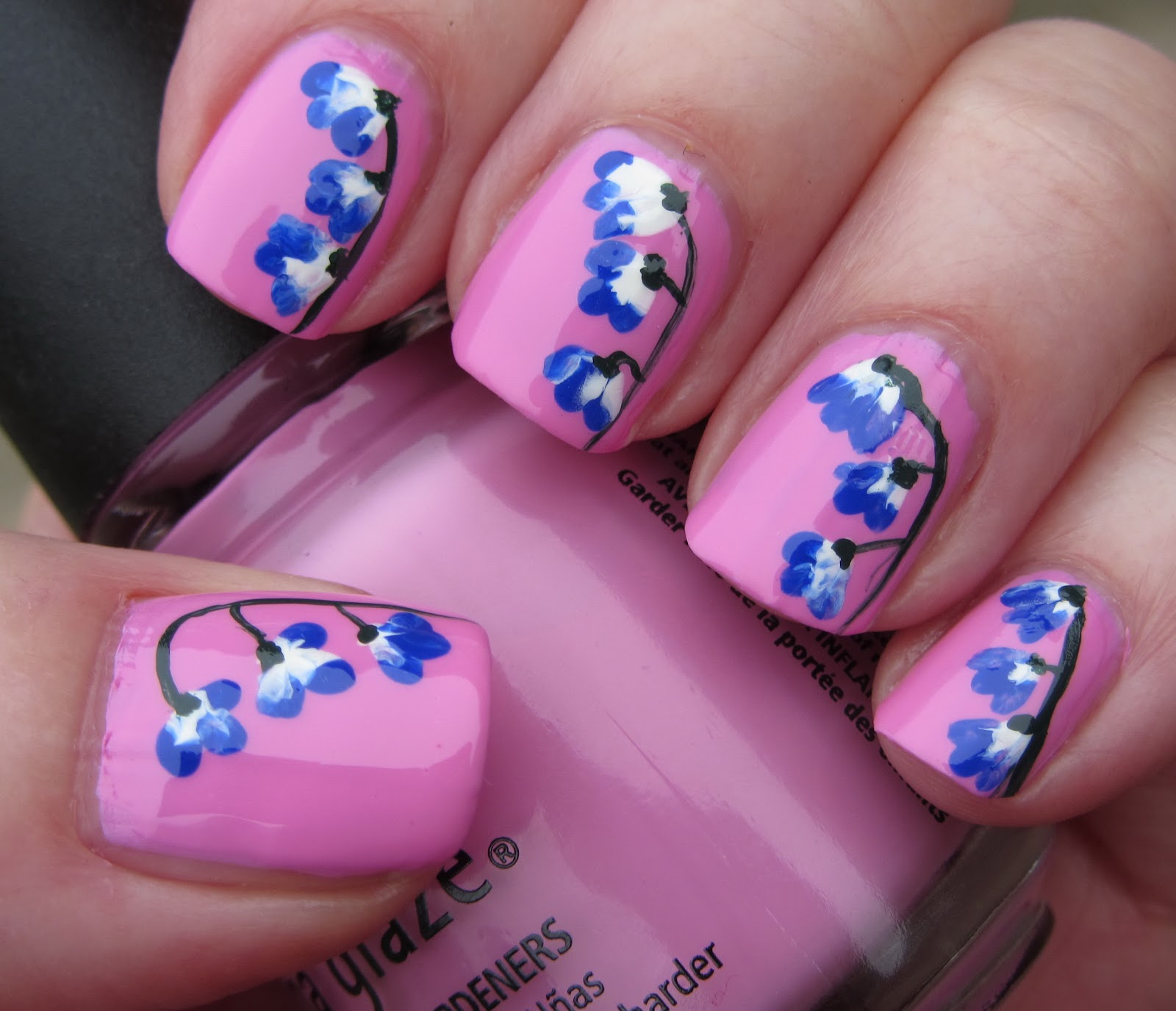 Nail Art and Polish Blog: Pink warning: Hanging blue/white flowers ...