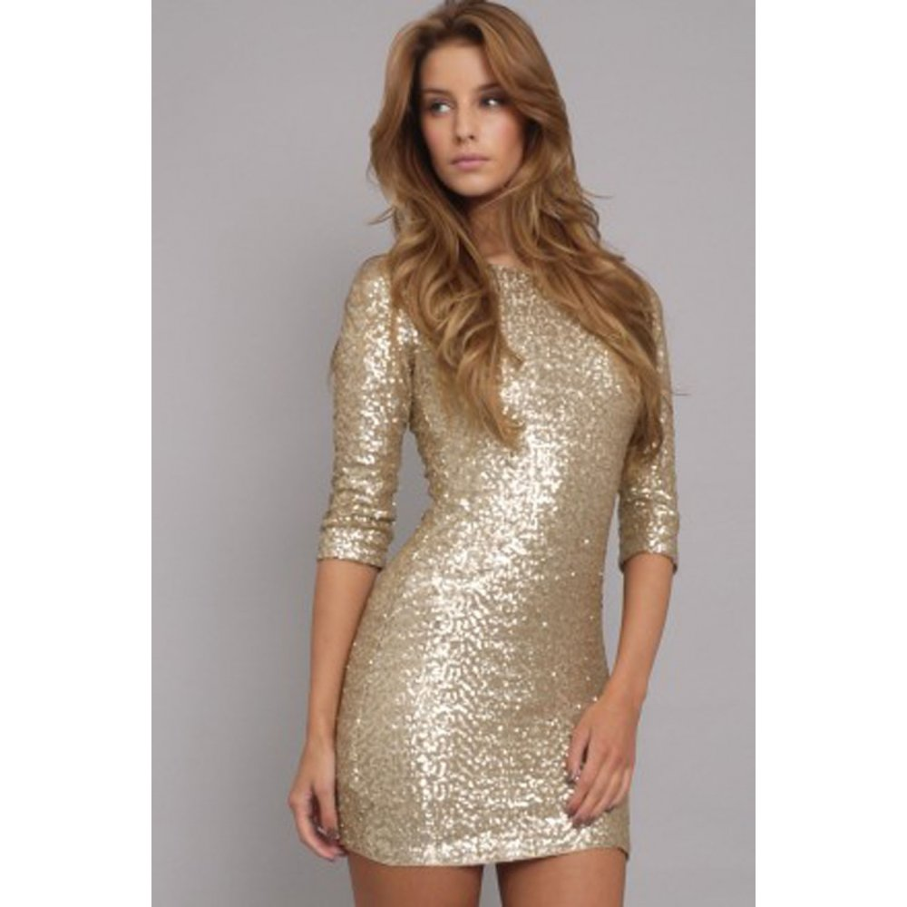 Cry little sister event paris gold sequin dress by tfnc for Glitter new years dresses