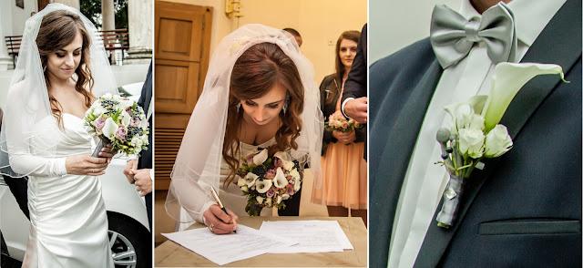 Szare akcenty kolorystyczne na ślubie.