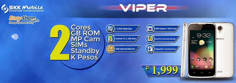 SKK Mobile Viper, Dual Core Smartphone For Php1,999