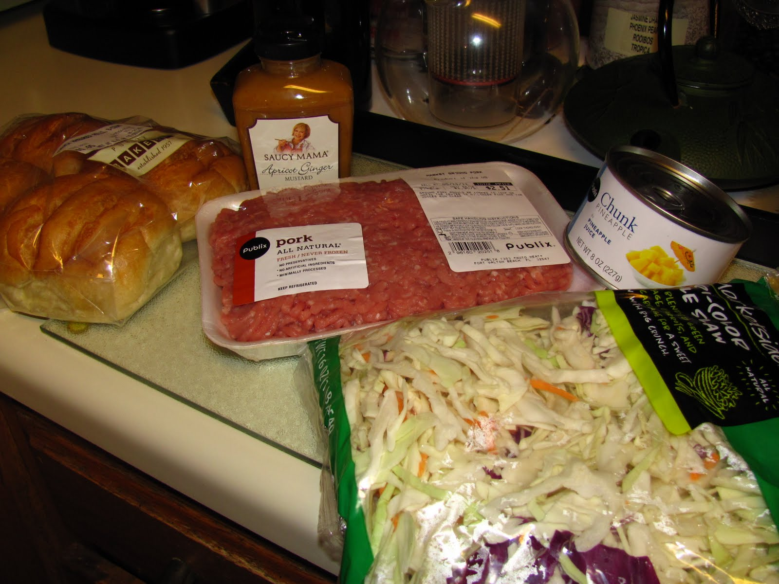 ... Food: ~Saucy Mama Apricot & Ginger Pork Burgers with Pineapple Slaw