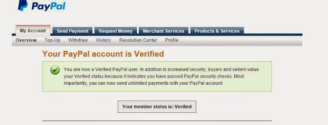 Paypal is verified