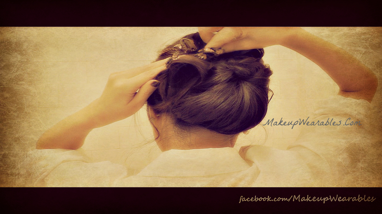Party hair tutorial - chic Chignon Bun coiffure/hairstyle/updo for special occasion for layered medium long hair hairdos - wedding hairstyles, prom