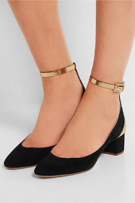 Chloe Black ad Gold low block heels with ankle strap