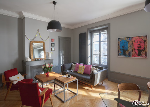 Mid-Century Design in Grau plus farbkräftige Accessoires - heiteres Wohnen zum Selbermachen!