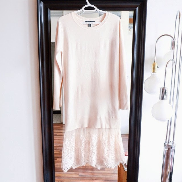 Forever 21 blush Lace sweater dress from holiday season 2014