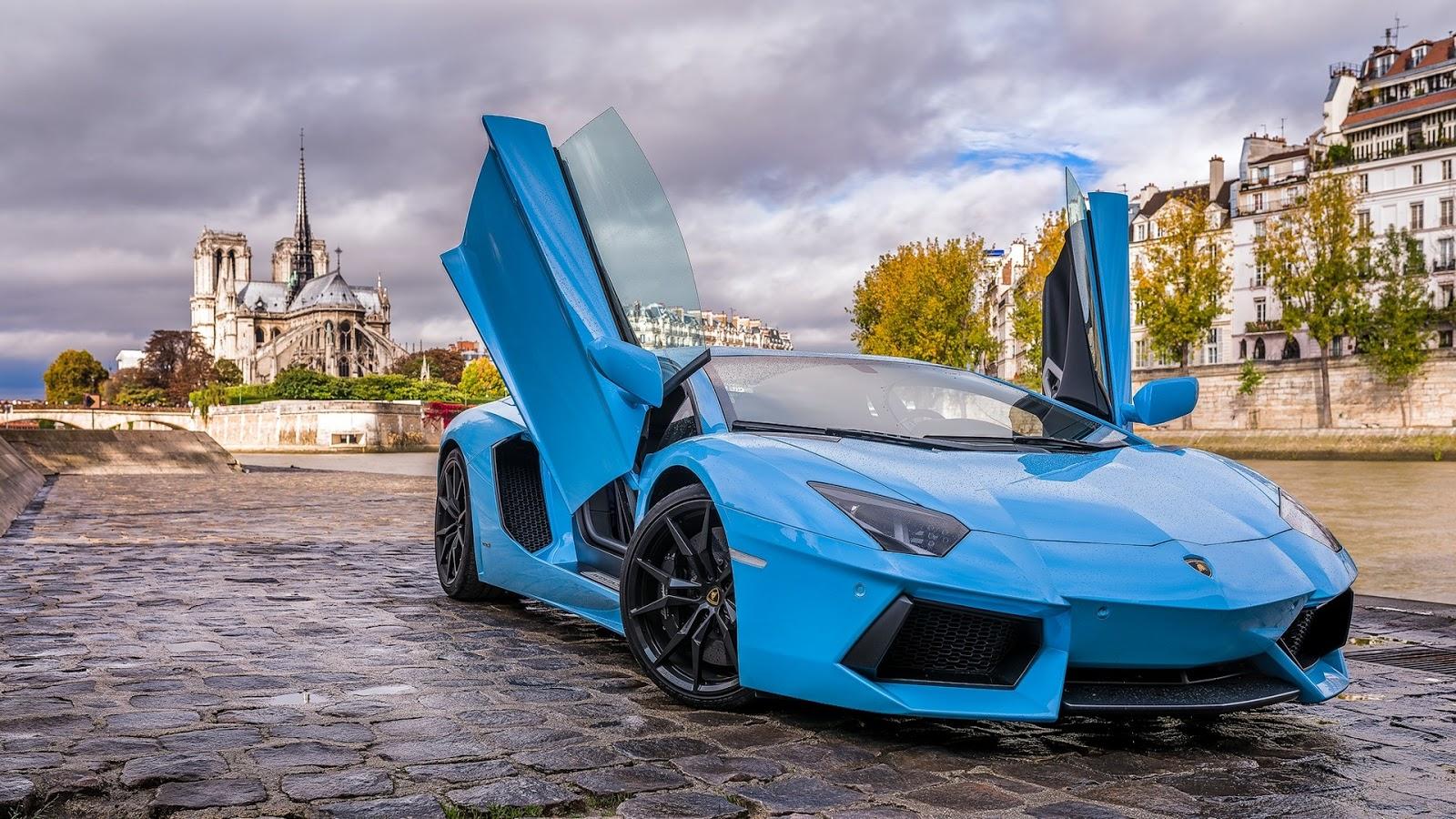 Sky Blue Lamborghini Wallpaper HD New