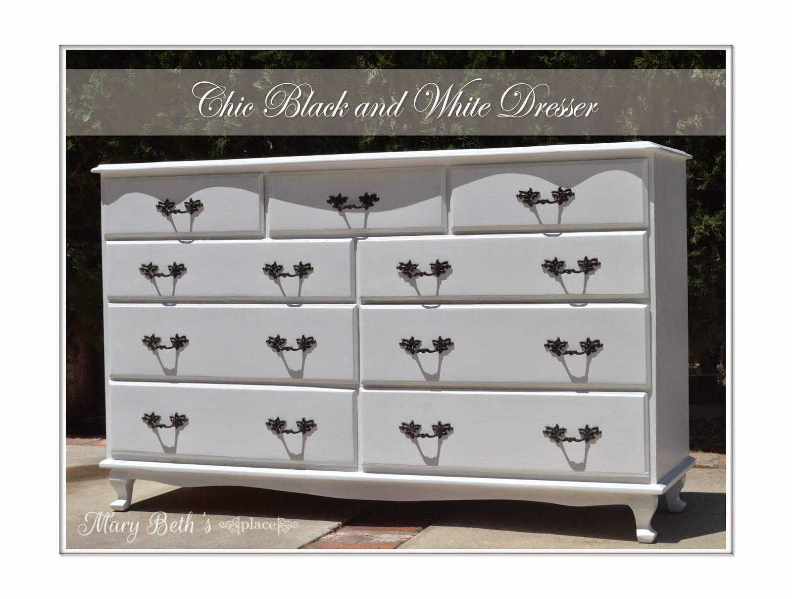 mary beth 39 s place chic black and white dresser. Black Bedroom Furniture Sets. Home Design Ideas