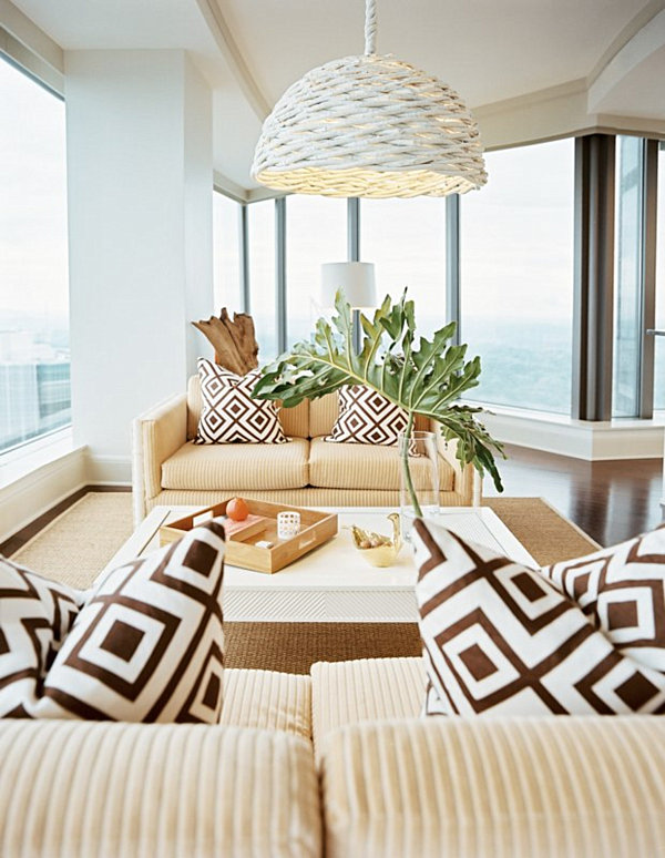 Leaf Print Cushions Living Room