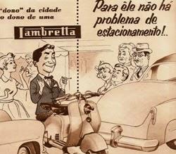 """Propaganda da Lambretta nos anos 50 """"dono da cidade""""."""