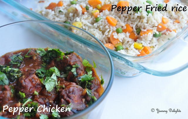 pepper fried rice and pepper chicken