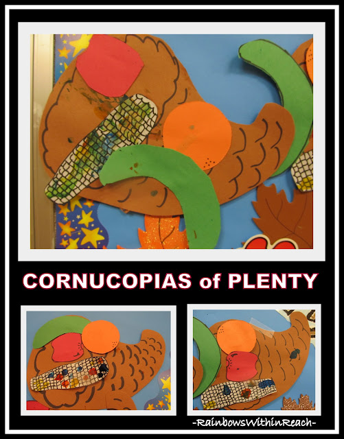 photo of: Cornucopia Bulletin Board in Preschool (Thanksgiving RoundUP via RainbowsWithinReach)