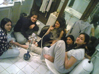 smoking girls in washroom | college desi girls |