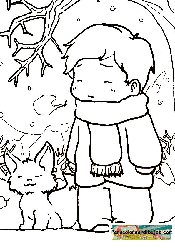 dibujo frio invierno para colorear
