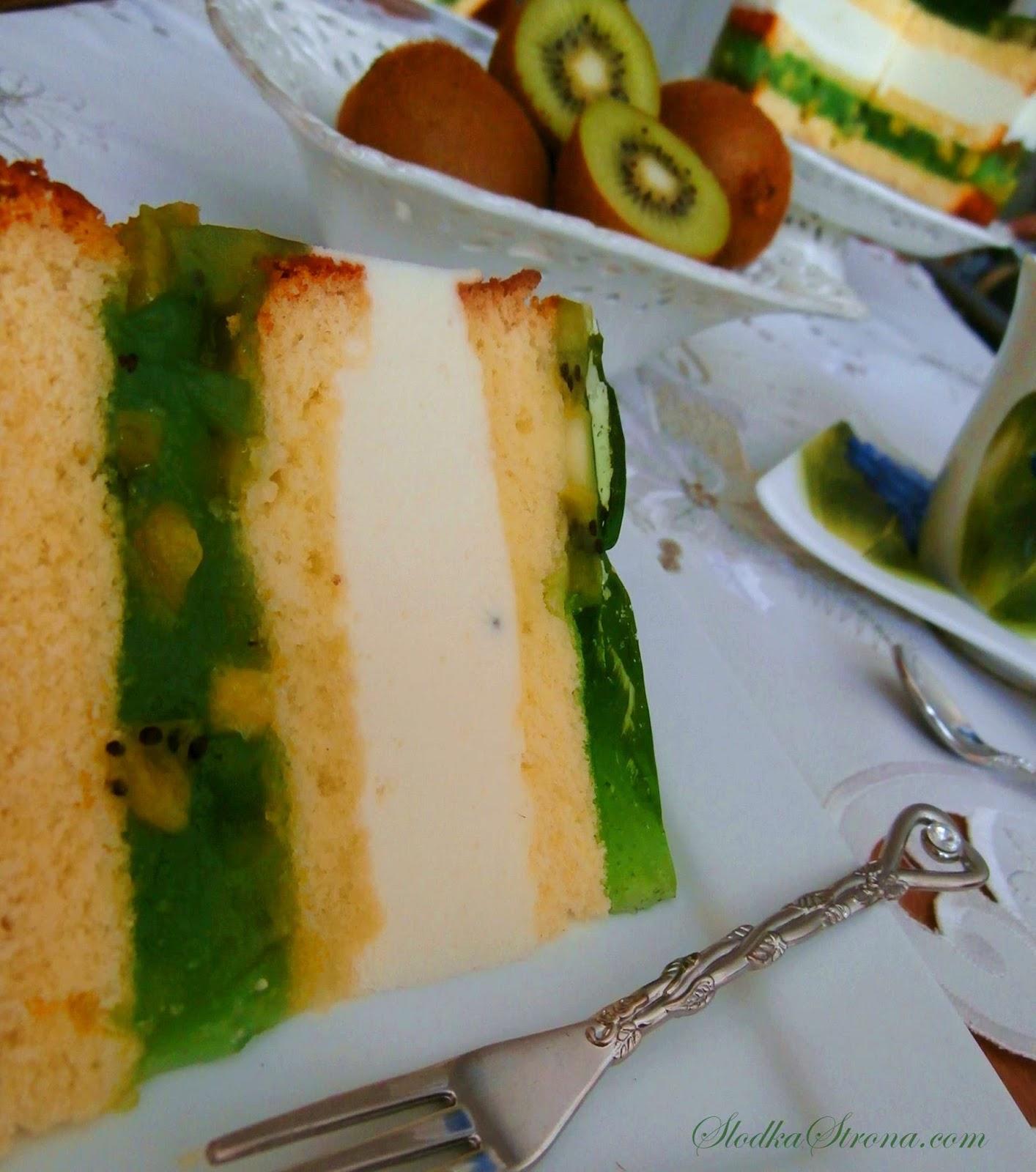 Tort - Ciasto z Owocami Kiwi - Przepis - Słodka Strona
