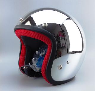Chrome Motorcycle Helmet
