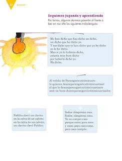Apoyo Primaria Español 4to grado Bloque 1 lección 2 Escribir trabalenguas y juegos de palabras para su publicación