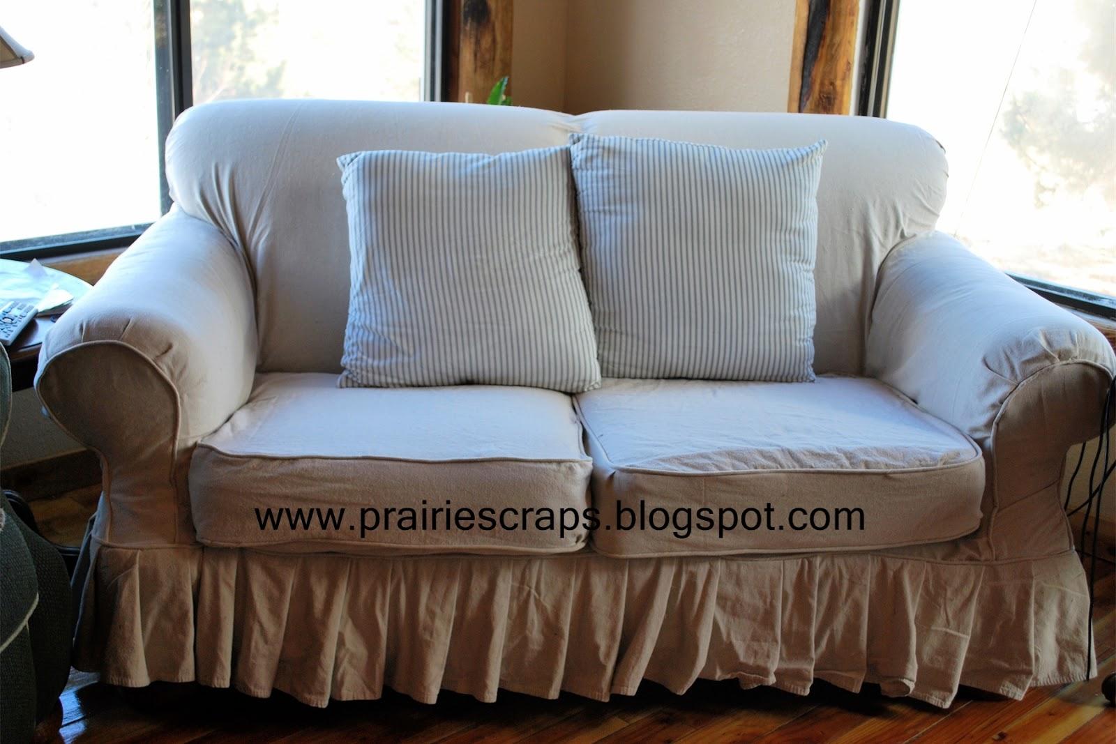 Prairie Scraps Drop Cloth Couch Re Do