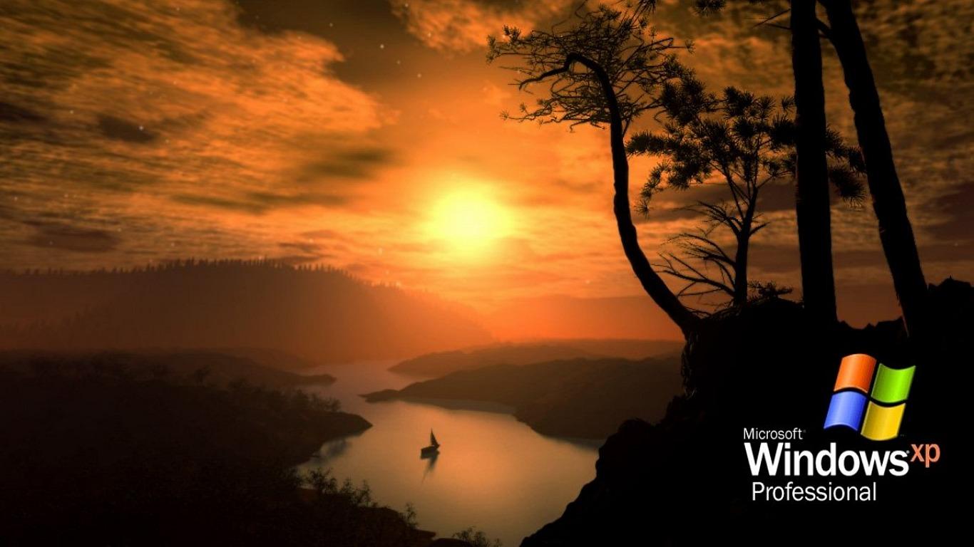 windows river montain sunset xp desktop wallpaper download