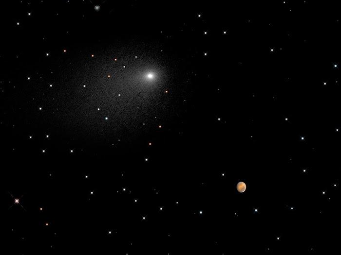 Hình ảnh ghép từ hai hình đơn bởi Kính Viễn vọng Không gian Hubble của NASA cho thấy vị trí của hai thiên thể vào lúc 2 giờ 28 phút sáng ngày 20 tháng 10 (giờ Sài Gòn). Credit: NASA, ESA, PSI, JHU/APL, STScI/AURA.