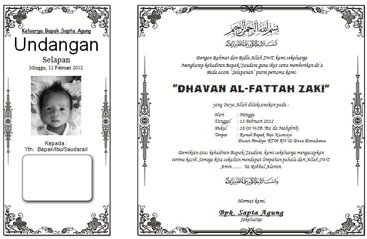acara selapanan 36 hari putra pertamaku dhavan al fattah zaki tanggal ...