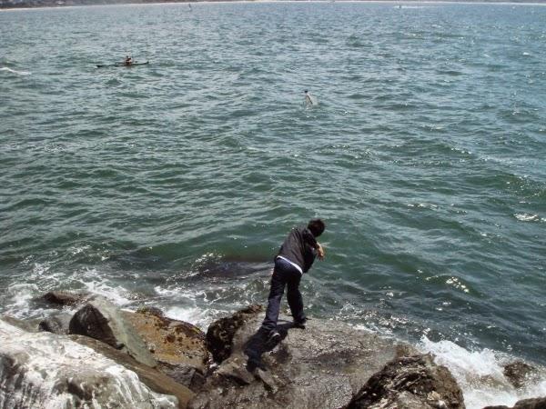 Il lance une bouteille contenant un message à la mer