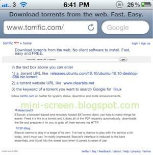 Torrific Website on Apple Iphone