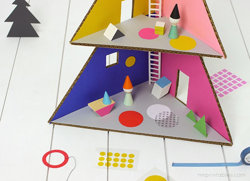Hazlo tú mismo: Árbol navidad de cartón y casa de muñecas Mr. Printable